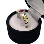 Anel de Formatura Feminino em Prata 950 com Pedra Navete Símbolos Ouro 18k
