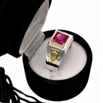 Anel de Formatura Masculino em Prata 950 com símbolos em Ouro 18k AF732