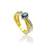 Anel de Formatura Feminino em Ouro 18 k com Pedras Naturais