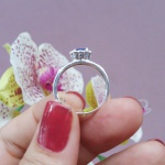 Delicado Anel de Formatura Feminino em Prata 950 Símbolos Ouro 18k e Pedra Coração