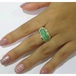 Anel De Prata 950 Feminino Pave Pedras Zircônias - 41065esm