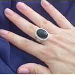 Anel Em Prata 950 Feminino Com Pedra Ônix Natural e Zircônias
