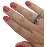 Anel Em Prata Feminino Com Pedras Zircônias Cor Ametista - 38056