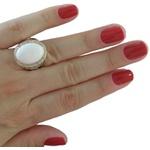 Anel Em Prata Feminino Com Pedra Natural e Zircônias - 30dbr