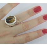 Anel De Prata Feminino Com Pedra Natural Olho De Tigre -30otg