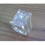 Anel Em Prata Feminino Com Pedra Grande - 41033bra