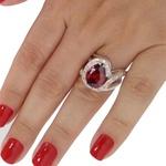 Anel Em Prata 950 Feminino Com Pedra Formato Gota Cor Granada
