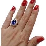 Anel Em Prata 950 Feminino Com Pedra Zircônia Gota Cor Azul Safira