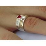Anel De Prata 950 Masculino Com Aplique Em Ouro Pedras Zircônias - 42008