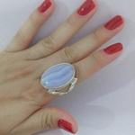 Anel De Prata Feminino Com Pedra Natural Grande - 43020aac