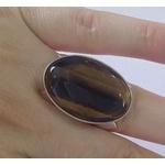 Anel De Prata Feminino Com Pedra Natural Olho De Tigre - 3020otg