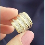 Anel Em Prata Modelo 7 Elos Com 4 Apliques De Ouro e Zircônias