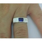 Anel Em Prata Masculino Com Pedra Zircônia Azul Safira