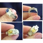 Anel Em Prata 950 Masculino Com Filetes Em Ouro - 41016esm