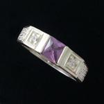 Anel Em Prata 950 Masculino Com Zircônia Cor Ametista
