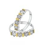 2 Anéis De Prata Aparadores De Aliança Com Zircônias