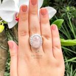 Anel De Prata Feminino Com Pedra Natural Quartzo Rosa- 30qtr