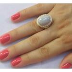 Anel Em Prata Feminino Com Pedra Natural Ágata Azul Clara e Zircônias
