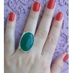 Anel Em Prata Feminino Com Pedra Natural Jade Verde - 43020jvd