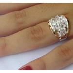 Anel Feminino Em Prata 950 Com Filetes Em Ouro e Zircônias - 39023