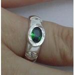 Anel Em Prata 950 Com Zircônia Cor Verde Esmeralda - 41064esm