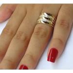 Anel Feminino em Prata 950 com Filetes Ouro 12k 5 Elos