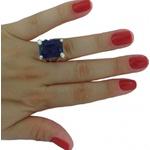 Anel De Prata 950 Feminino Com Pedra Zircônia - 41033saf