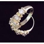 2 Anéis De Prata Aparadores De Aliança Com Zircônias - 41014