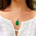 Pingente em Prata 925 com Pedra Natural Jade Verde Oval
