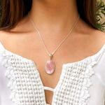 Pingente em Prata 925 com Pedra Natural Quartzo Rosa Oval