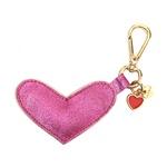 Chaveiro Coração Couro Legítimo Metalizado Pink