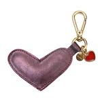 Chaveiro Coração Couro Metalizado Roxo