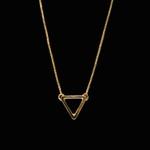 Escapulário Antialérgico Triângulo Tridimensional Banho Ouro
