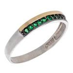 Anel De Prata 925 Cravejado Verde Com Fio De Ouro