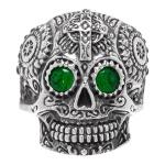 Anel Caveira Mexicana Zircônia Verde Aço Inox Níquel