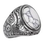 Anel Pedra Branca Oval Aço Inox