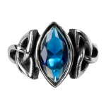 Anel Pedra Navete Azul Inoxidável