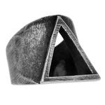 Anel Triângulo Aço Inoxidável Prata Velho