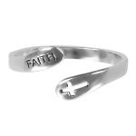 Anel Regulável Faith Prata de Lei
