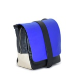 Bolsa Transversal Couro Preto/Azul 742
