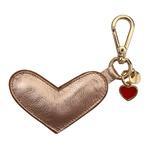 Chaveiro Coração Couro Metalizado Salmão