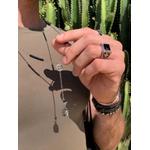 Colar Terço Budha Com Pedra Natural Ônix Negra Níquel