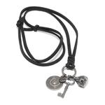 Colar Couro Mantoan - Preto/amuleto