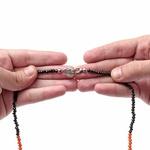CordÃo Cristais Preto Com Laranja