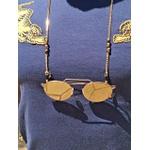 Corrente De Óculos Dourado Com Pedra Natural Olho De Tigre