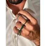 Anel Zircônia Verde 3 mm Ródio Negro