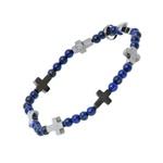 Pulseira Pedra Natural Lapis Lazuli 4mm e Cruz Hematita