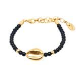 Pulseira Búzios Pedra Ônix Dourado 599