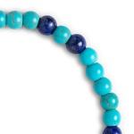 Pulseira Pedra Natural Turquesa e Lápis Lazuli 6mm Semijoia RB