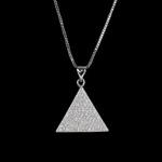 Colar Triângulo Cravejado Incolor Ródio Branco